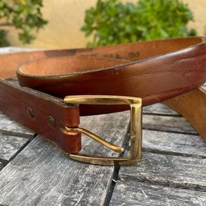 Oil Tan Top Grain Brown Leather Belt USA Made 36